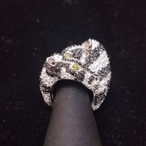 Jewelry - Pave Black and White Cubic Zirconia Zebra Sterling